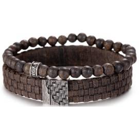 925 Leder/Bronzit Armband Set